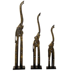 Set 3 Figuras Elefante Madeira