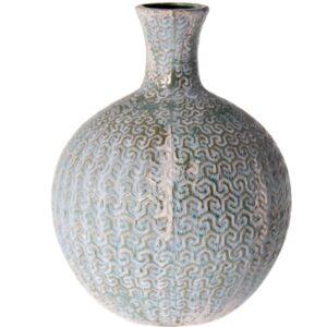 Jarro de cerâmica decorado cinza/azul Envelhecido