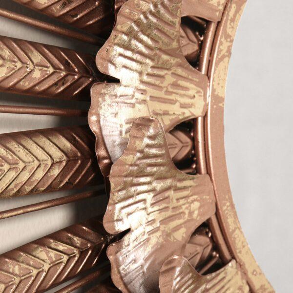 Espelho Metal Parede Sol Rosa/dourado