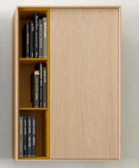 Alçado de parede porta e prateleira lateral